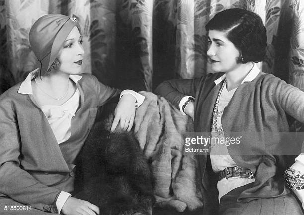 Mademoiselle Gabrielle Chanel right fashion expert with actress Ina Claire