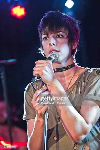 Mademoiselle K performs at Cafe 114 for Fender Jaguar Guitar Kurt Cobain Guitar launch on September 29 2011 in Paris France