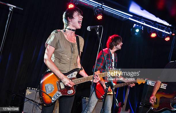 Mademoiselle K performs at Cafe 114 for Fender Jaguar Kurt Cobain Guitar launch on September 29 2011 in Paris France