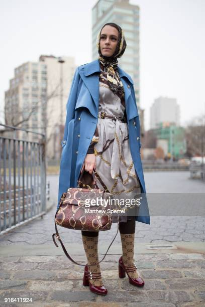 Mademoiselle Meme is seen on the street attending the Bibhu Mohapatra show during New York Fashion Week on February 9, 2018 in New York City.