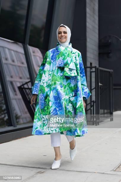 Mademoiselle Meme is seen on the street during New York Fashion Week SS19 wearing Richard Quinn on September 8 2018 in New York City