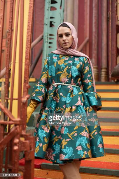 Mademoiselle Meme is seen on the street during New York Fashion Week AW19 wearing Alice & Olivia on February 11, 2019 in New York City.