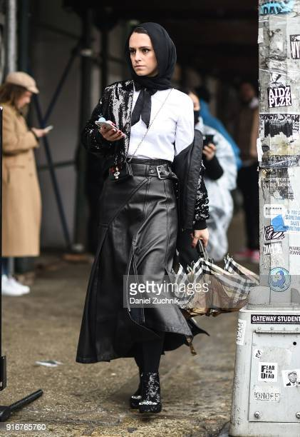 Mademoiselle Meme is seen outside the Son Jung Wan show during New York Fashion Week Women's A/W 2018 on February 10 2018 in New York City