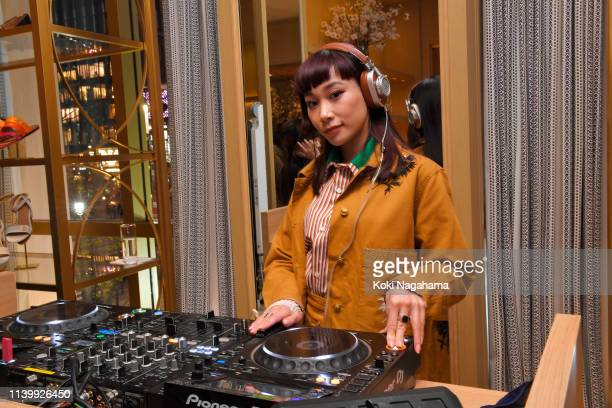 Mademoiselle Yulia attends the Tory Burch Ginza Boutique Opening on April 02 2019 in Tokyo Japan