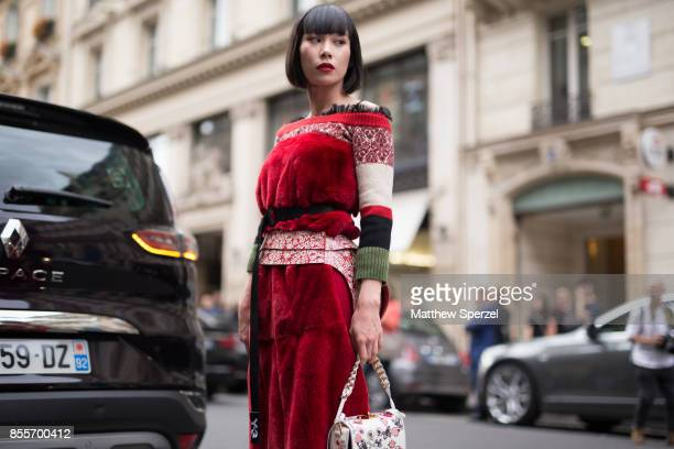Mademoiselle Yulia is seen attending Undercover during Paris Fashion Week wearing Undercover on September 29, 2017 in Paris, France.
