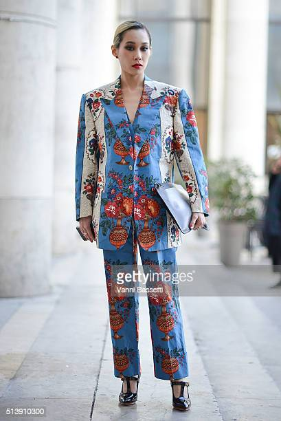 Mademoiselle Yulia poses before the Vivienne Westwood show at the Palais de Tokyo during Paris Fashion Week FW 16/17 on March 5 2016 in Paris France