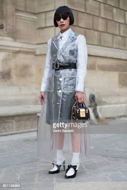 Mademoiselle Yulia poses wearing Thom Browne after the Thom Browne show at the Ecole des Beaux Arts during Paris Fashion Week Menswear SS18 on June...