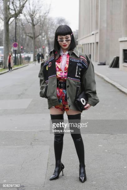 Mademoiselle Yulia seen at the Miu Miu fashion show during Paris Fashion Week Womenswear Fall/Winter 2018/2019 on March 6 2018 in Paris France