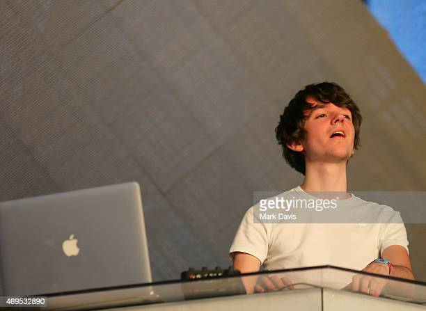 Madeon performs onstage during day 3 of the 2015 Coachella Valley Music Arts Festival at the Empire Polo Club on April 12 2015 in Indio California
