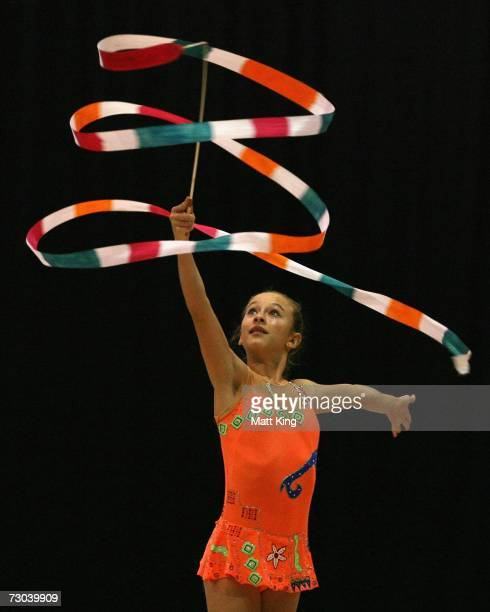 Madeson West of New Zealand competes during the Women's Group AllAround Final during the Rhythmic Gymnastics competition of the Australian Youth...