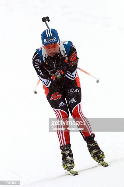 Madgalena Neuner of Germany competes during the women 4 x 6 km relay event in the IBU Biathlon World Cup on December 11 2010 in Hochfilzen Austria