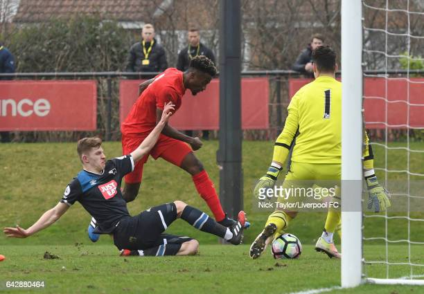 Madger Gomes of Liverpool has a shot which is saved by goalkeeper Kelle Roos of Derby County during the Liverpool v Drby County Premier League 2 game...