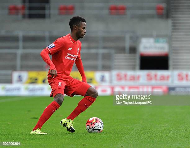 Madger Gomes of Liverpool in action during the Liverpool v Everton U21 Premier League game at Langtree Park on December 6 2015 in St Helens England