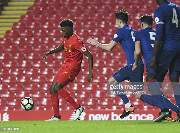 Madger Gomes of Liverpool in action during the Liverpool v Manchester United Premier League 2 game at Anfield on January 16 2017 in Liverpool England