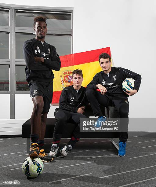 Madger Gomes Sergi Canos and Pedro Chirivella pose for a portrait at the Liverpool FC Academy on February 19 2015 in Liverpool England