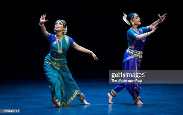 Madhavi Mudgal right and Alarmel Valli dance 'Samanvaya A Coming Together' at the Kennedy Center