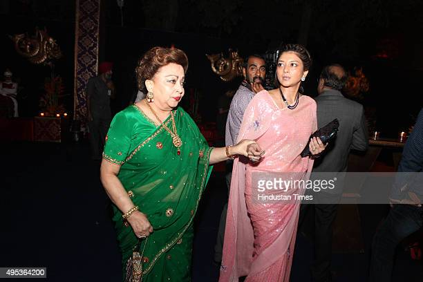 Madhavi Raje Scindia mother of Congress leader Jyotiraditya Madhavrao Scindia during the wedding reception of MP and Congress spokesperson Abhishek...