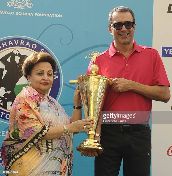 Madhavi Raje Scindia mother of Jyotiraditya Madhavrao Scindia Member of Parliament presents the overall trophy to Arunjit Sodhi in 10th edition of...