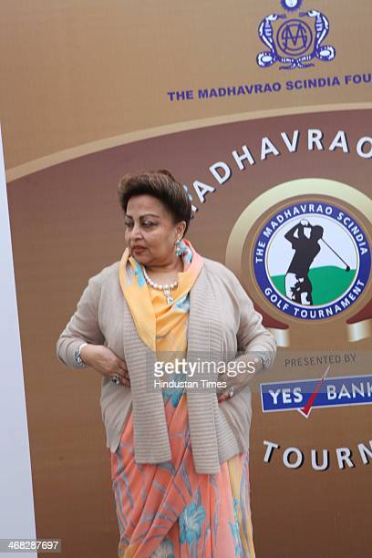 Madhavi Raje Scindia mother of Jyotiraditya Madhavrao Scindia Member of Parliament during the ninth edition of the Madhavrao Scindia Golf Tournament...