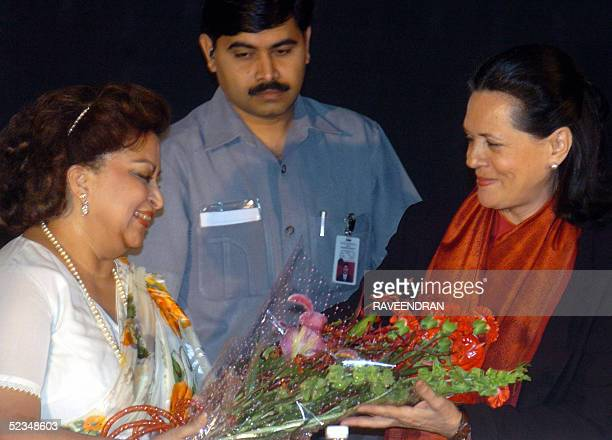 Madhavi Raje Scindia widow of the late Senior Congress Party leader Madhavrao Scindia who died in a plane crash during a election campaign is greeted...