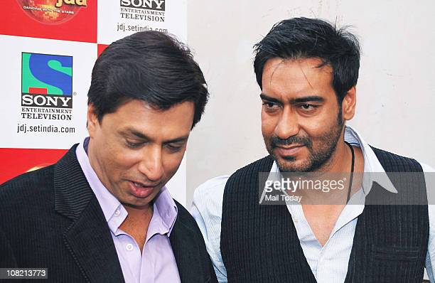Madhur Bhandarkar and Ajay Devgan during a promotional event of their film Dil to Bacha Hai Jee in TV show Jhalak Dikhla Jaa in Mumbai on Thursday