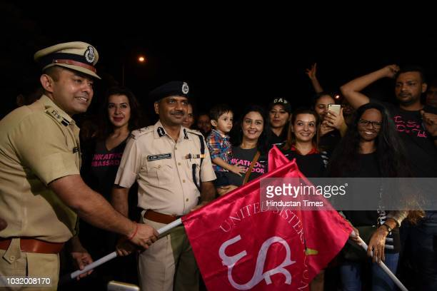 Madhur Verma DCP New Delhi district Ajay Chaudhary Joint Commissioner of Police and Acid attack survivor Laxmi Agarwal flag of the The Fearless Run a...