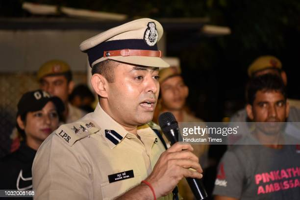 Madhur Verma DCP New Delhi district during The Fearless Run a midnight run of 5 kilometers which was organised by the Delhi Police in association...