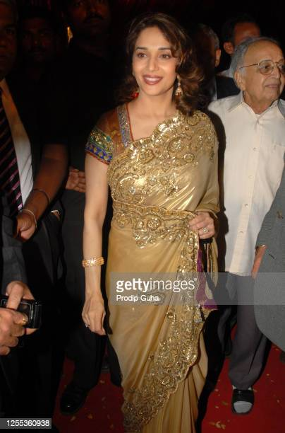Madhuri Dixit attends the film Producer Bharot Shah's son wedding ceremony on February 05 2009 in Mumbai India