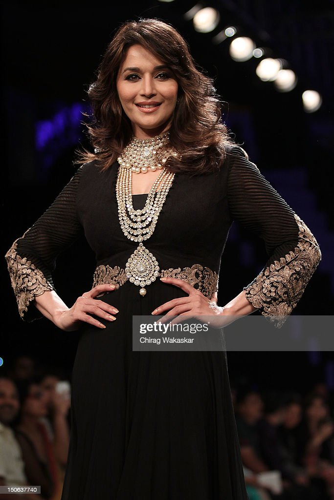 Madhuri Dixit walks the runway at the PCJ Grand Finale show of India International Jewellery Week 2012 day 5 at the Grand Hyatt on August 23, 2012 in Mumbai, India.