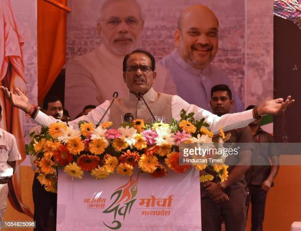 Madhya Pradesh Chief Minister Shivraj Singh Chouhan addresses youths who were attending BJP Town hall meeting at Ravindra Bhawan on October 28 2018...
