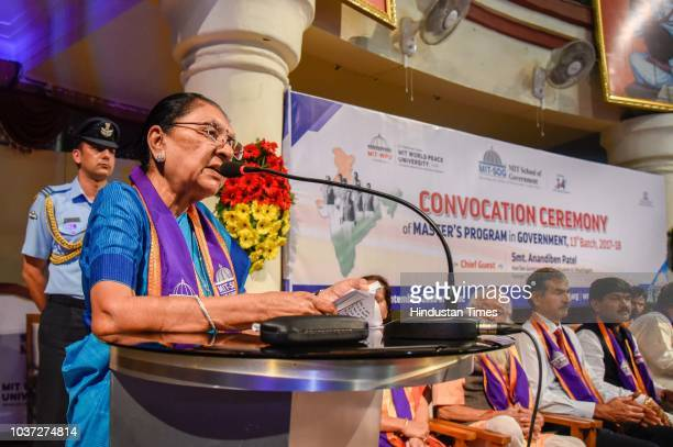 Sahil Parsekar receives his graduation certificate from Madhya Pradesh Governor Anandiben Patel at convocation ceremony of Masters program in...