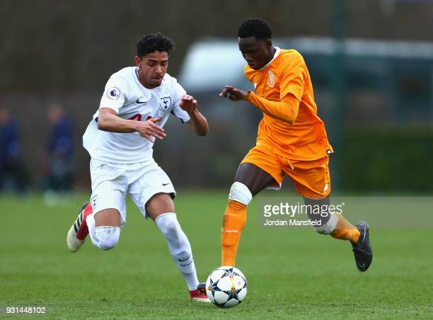 Madi Queta of FC Porto and Dylan Duncan of Tottenham Hotspur in action during the UEFA Youth League group H match between Tottenham Hotspur and FC...