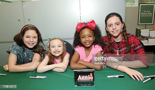 Madi Rae DiPietro Emily Rosenfeld Tyrah Skye Odoms and Georgi James attend the AnnieThe Musical Cast Album Signing at Barnes Noble Citigroup Center...