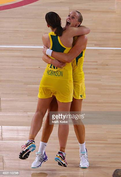 Madi Robinson and Renae Hallinan of Australia celebrate victory the gold medal netball match between Australia and New Zealand at the SECC Precinct...