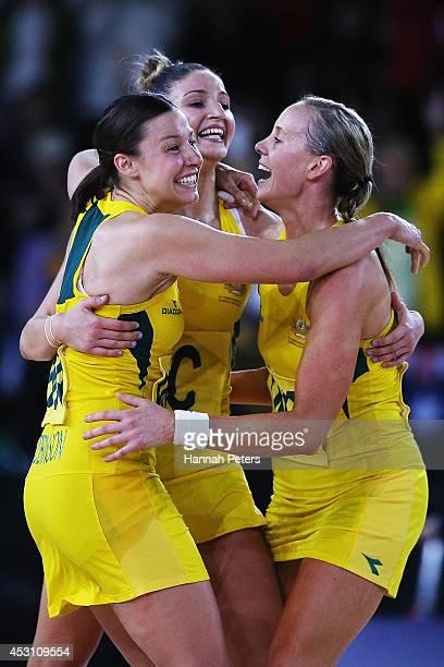 Madi Robinson Kimberley Ravaillion and Renae Hallinan of Australia celebrate winning the gold medal match between Australia and New Zealand at SECC...