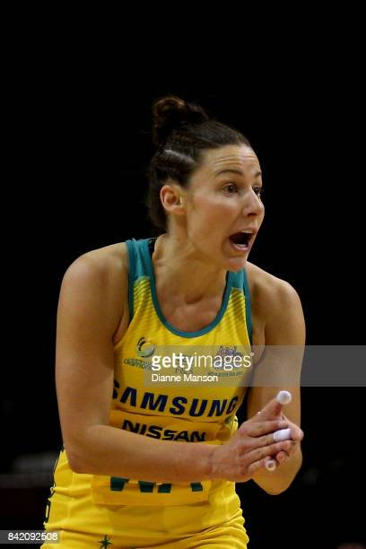 Madi Robinson of Australia reacts during the 2017 Quad Series match between the New Zealand Silver Ferns and the Australia Diamonds on September 3...