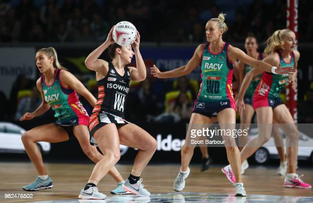 Mwai Kumwenda of the Vixens catches the ball during the round eight Super Netball match between Magpies and the Vixens at Margaret Court Arena on...