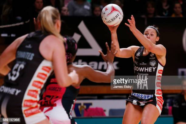 Madi Robinson of the Magpies in action during the round 14 Super Netball match between the Thunderbirds and Magpies at Titanium Security Arena on May...