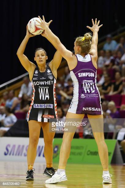 Madi Robinson of the Magpies passes during the round two Super Netball match between the Queensland Firebirds and the Collingwood Magpies at Brisbane...