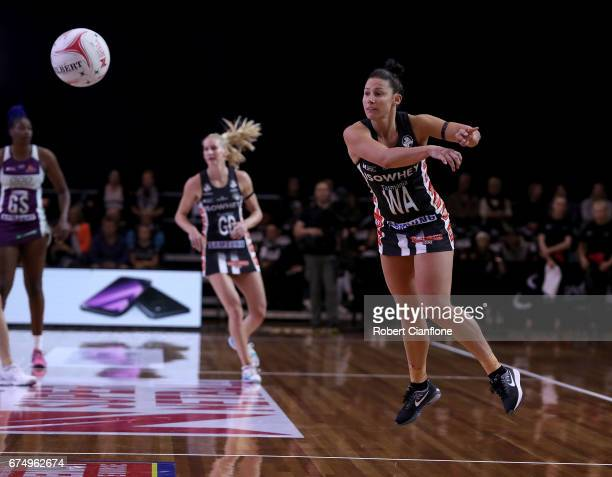 Madi Robinson of the Magpies passes the ball during the round 10 Super Netball match between the Magpies and the Firebirds at the Silverdome on April...