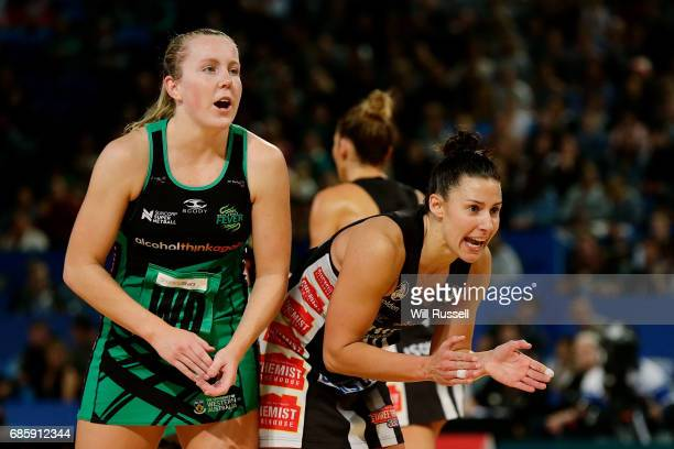 Madi Robinson of the Magpies shouts to a team mate during the round 13 Super Netball match between the Fever and the Magpies at Perth Arena on May 20...