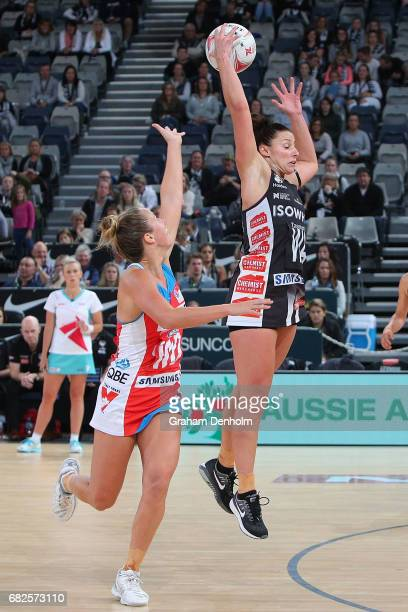 Madi Robinson of the Magpies wins the ball in the air during the round 12 Super Netball match between the Magpies and the Swifts at Hisense Arena on...