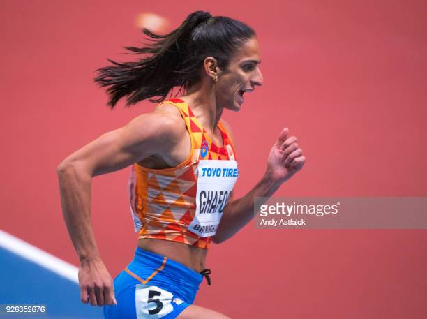 Madiea Ghafoor from The Netherlands during round 1 of the Women's 400m at the IAAF World Indoor Championships at Arena Birmingham on March 2 2018 in...