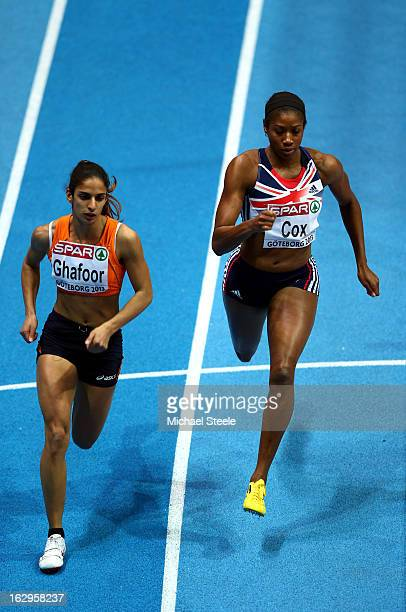 Madiea Ghafoor of Netherlands and Shana Cox of Great Britain and Northern Ireland compete in the Women's 400m Semi Final during day two of the...