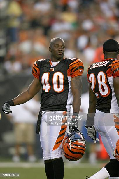 Madieu Williams of the Cincinnati Bengals talking with teammate during a game against the Washington Redskins on August 13 2006 at the Paul Brown...