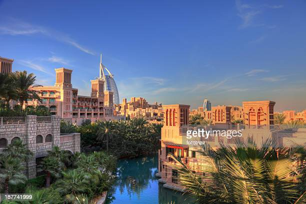 madinat jumeira resort, arabic style cityscape, dubai - jumeirah stock pictures, royalty-free photos & images