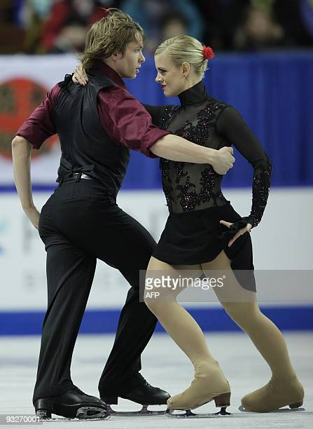 Madison and Keiffer Hubbell of the United States perform in the ice dance competition at the 2009 Homesense Skate Canada International in Kitchener...