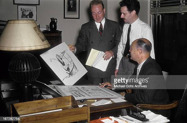 Madison Avenue advertising executives work on a project circa 1950 in New York City New York