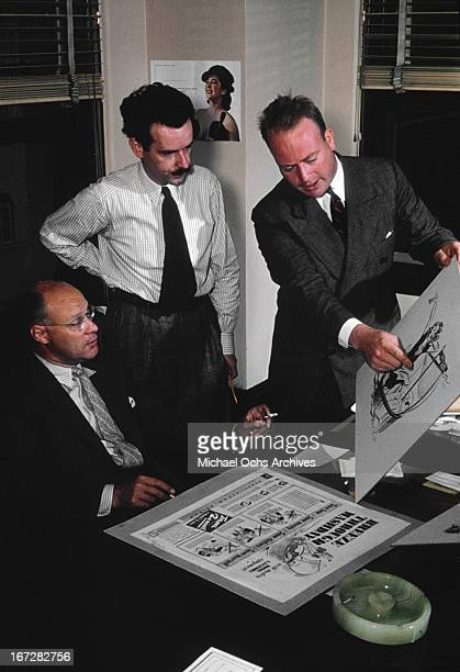 Madison Avenue advertising executives work on a project circa 1950 in New York City, New York.