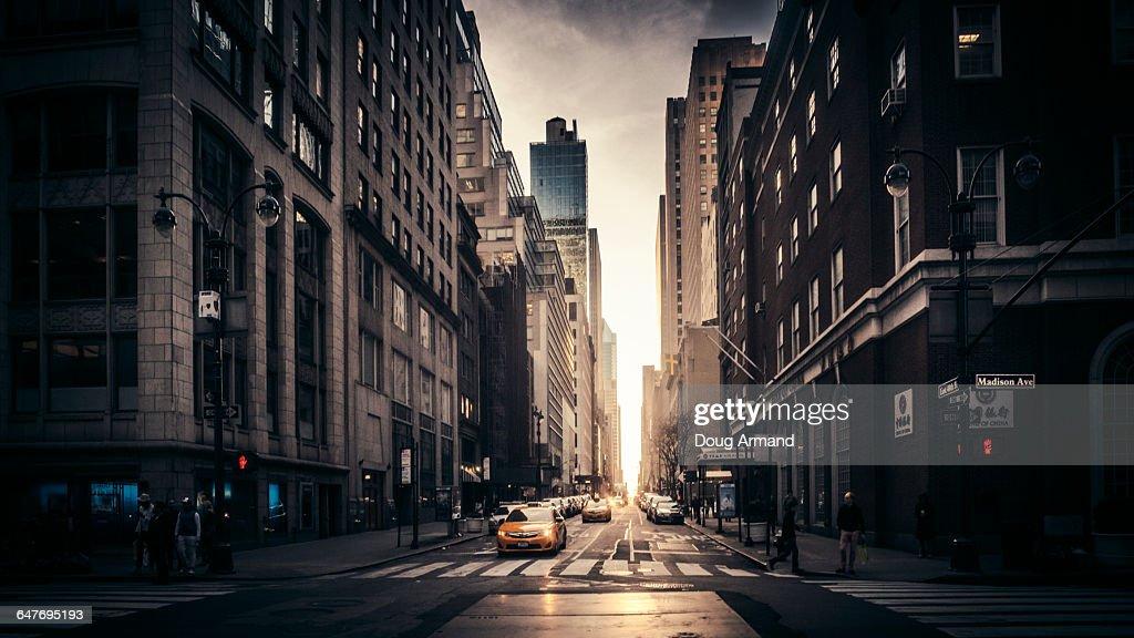 Madison Avenue street scene in late light : Stock Photo